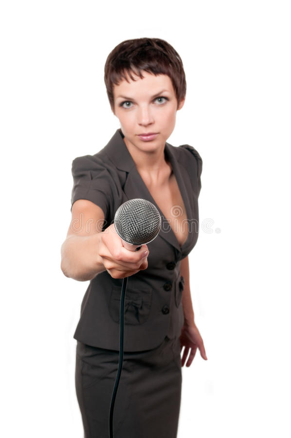 Journalist with microphone royalty free stock photos