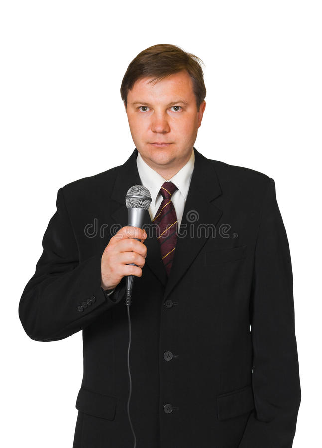 Download Journalist with microphone stock photo. Image of male - 27397954