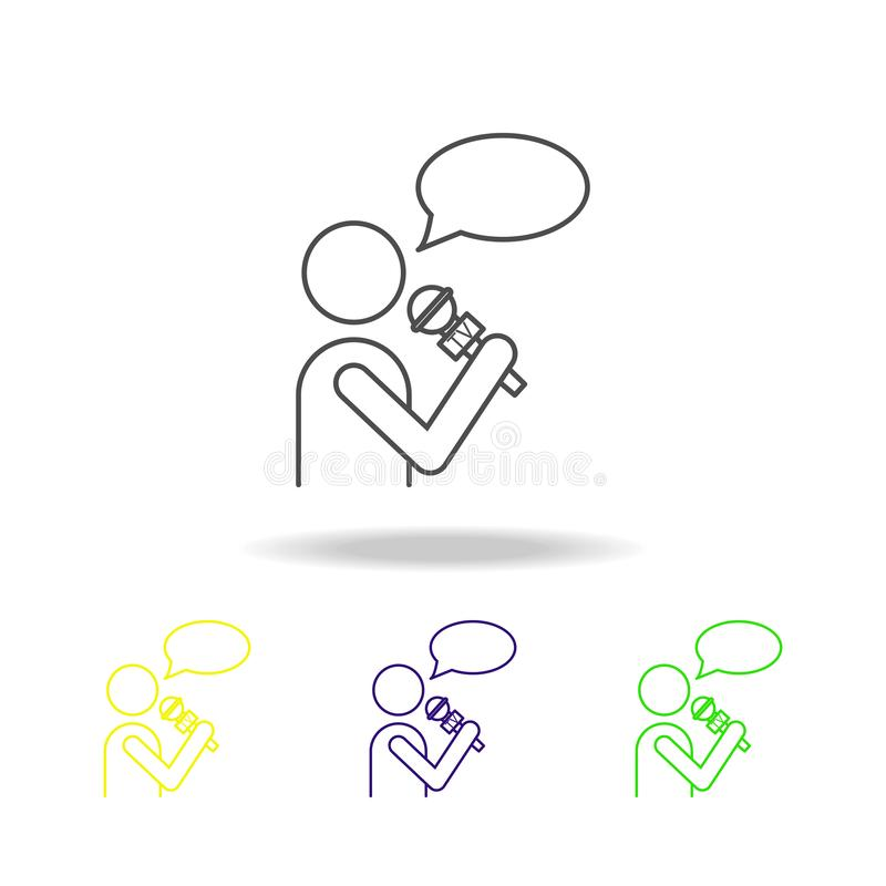 journalist with microphone multicolored icons. Element of journalism for mobile concept and web apps illustration. Can be used for vector illustration