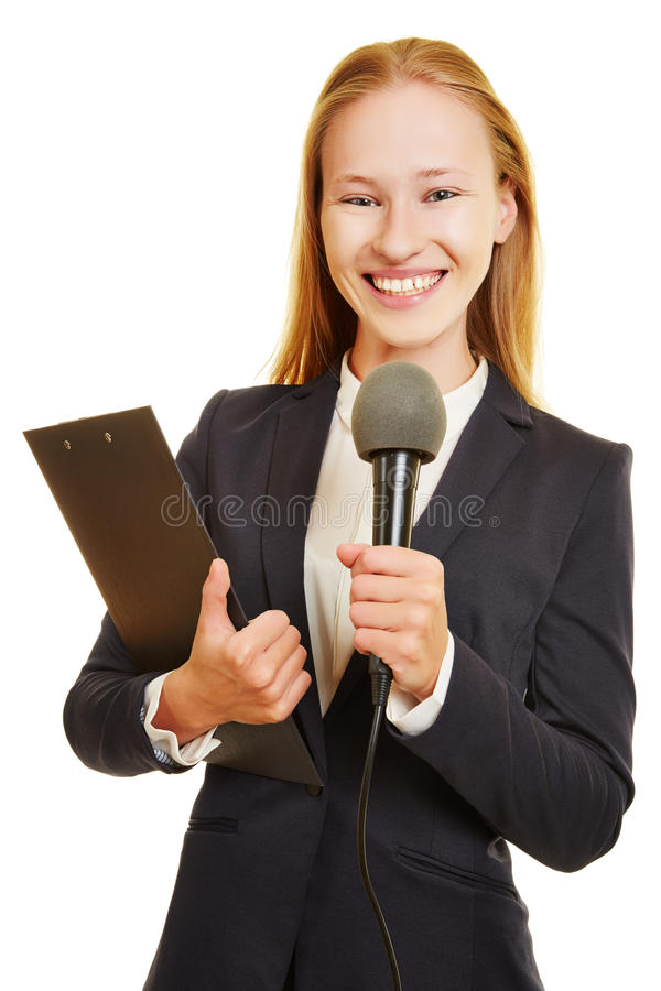 Journalist with microphone royalty free stock images