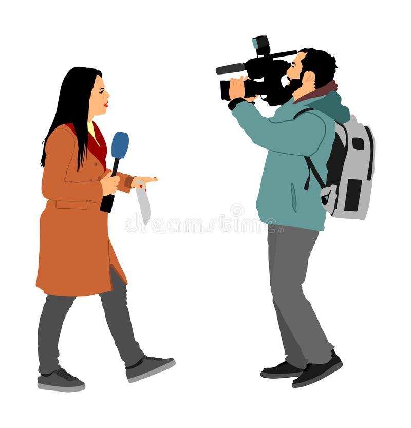 Journalist News Reporter Interview with camera crew illustration isolated. TV reporter interviewed people on street. Cameraman, light, sound assistant backup vector illustration