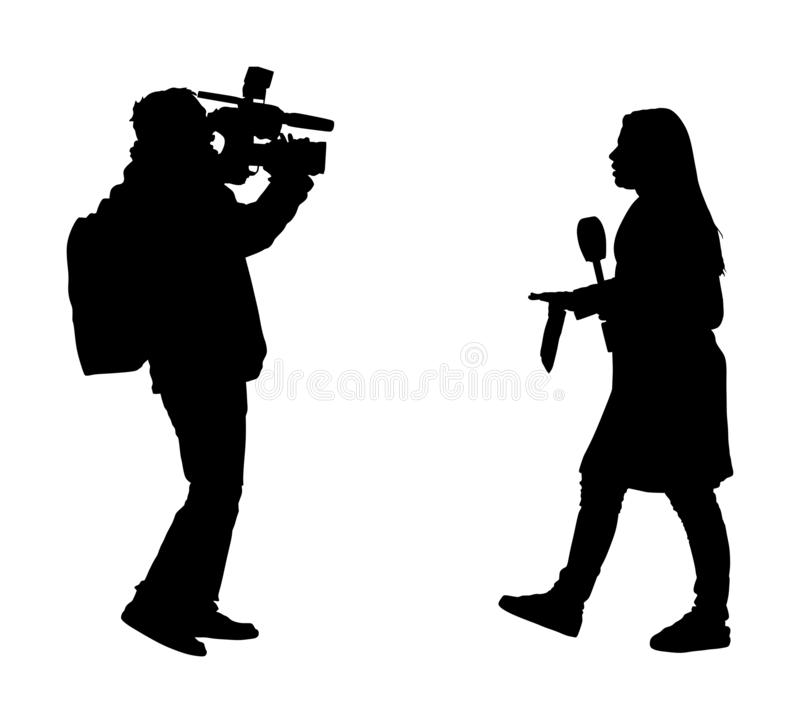 Journalist News Reporter Interview with camera crew  silhouette illustration isolated. TV reporter interviewed people. Journalist News Reporter Interview with royalty free illustration