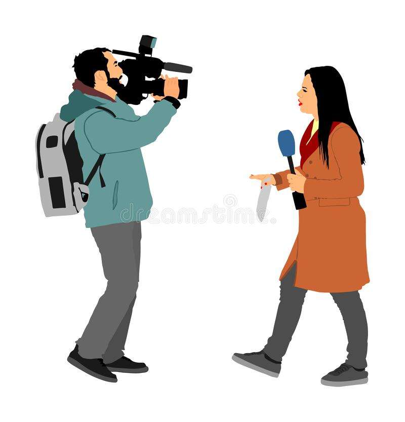 Journalist News Reporter Interview with camera crew, TV reporter interviewed people on the street. Journalist News Reporter Interview with camera crew stock illustration