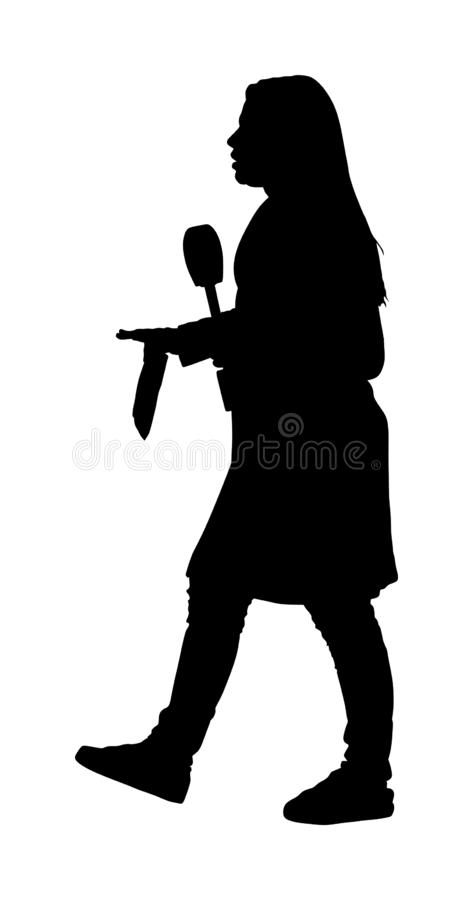 Journalist News Reporter Interview in front of camera crew  silhouette isolated. TV reporter interviewed people on street. Light, sound assistant backup to stock illustration