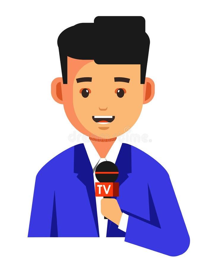 Journalist oder Nachrichtensuchmaschine mit Mikrofonkorrespondent Fernsehshowwirt lizenzfreie abbildung
