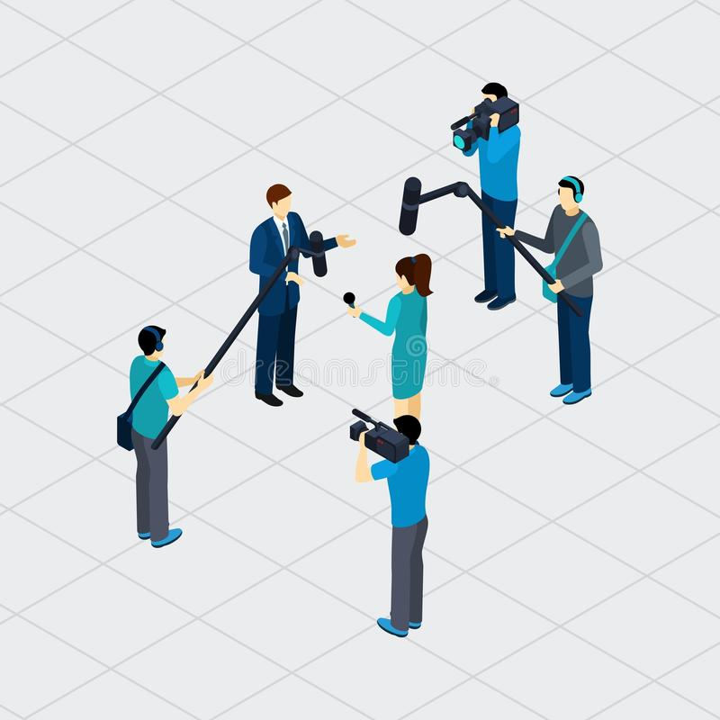 Journalist Profession Teamwork Isometric Banner stock illustration