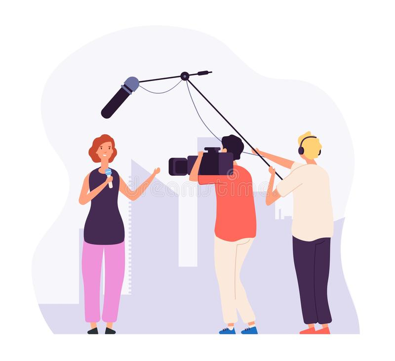 Journalist report. Girl reporter with microphone tv channel broadcasting professional crew operator television news royalty free illustration