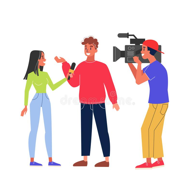 Journalist take interview and cameraman shooting video. Girl with microphone ask question. Interviewing famous person. Isolated vector illustration in cartoon stock illustration