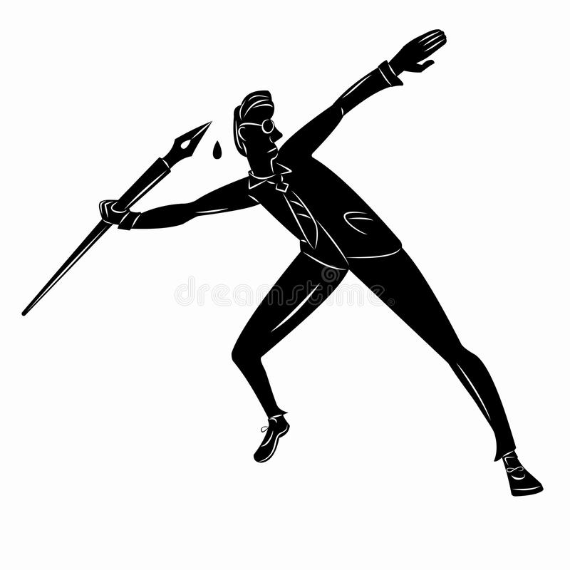 Journalist throw pen, vector illustration. Black and white silhouette journalist throwing the pen, white background , illustration vector illustration