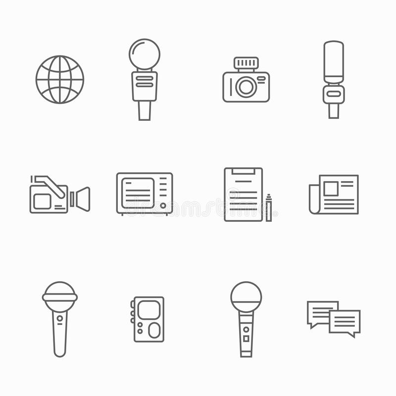 Journalist vector line icons. News interviewer attributes as a microphone, camera, dictaphone using for interview stock illustration
