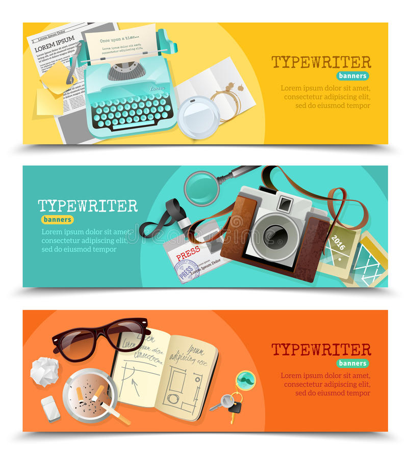 Journalist Vintage Typewriter Banners. Three horizontal flat banners with vintage journalist typewriter and other tools for work isolated vector illustration royalty free illustration