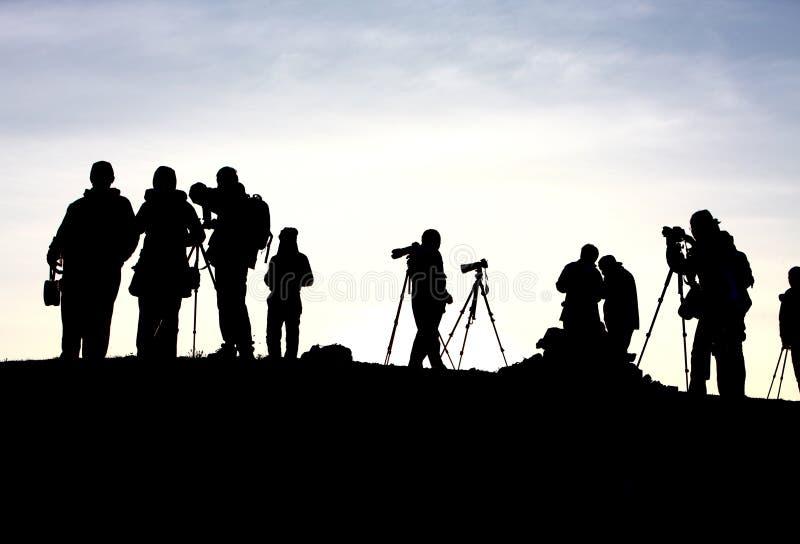 journalist waits sunrise royalty free stock photo