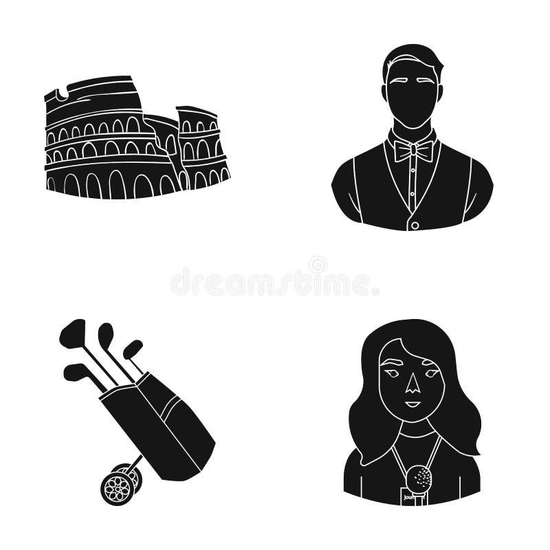 Journalist, yrke, turism och annan rengöringsduksymbol i svart stil hår makeup, mikrofonsymboler i uppsättningsamling royaltyfri illustrationer