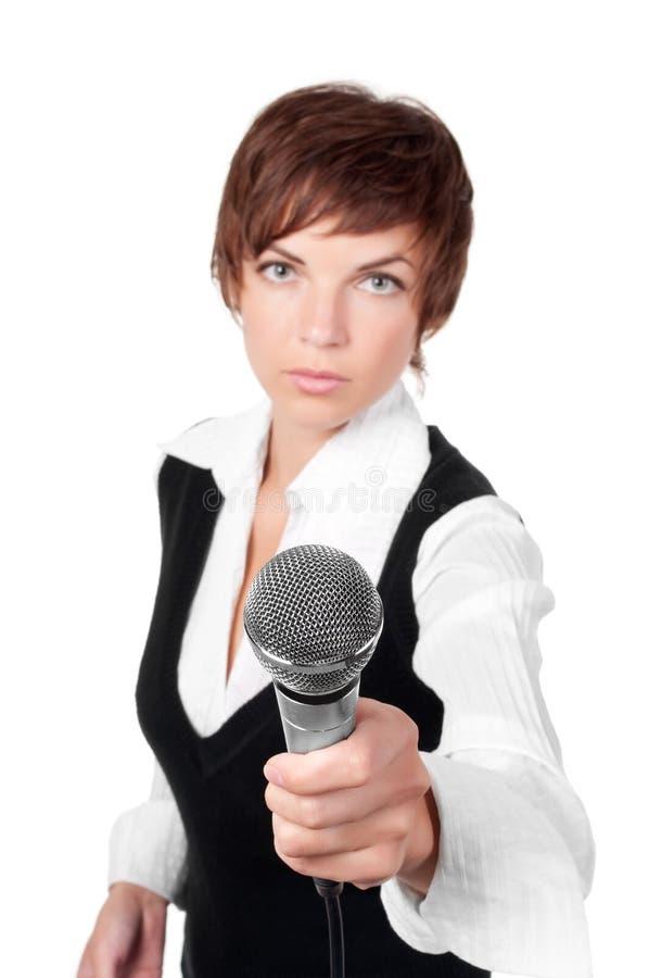 Journalista com microfone imagem de stock