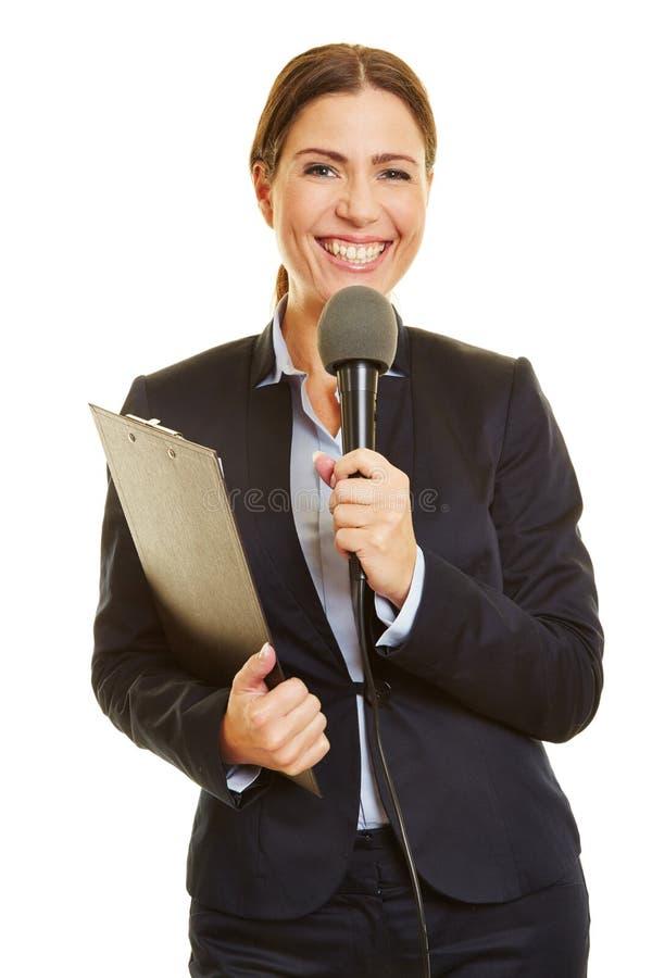 Journalista dos meios com microfone imagens de stock