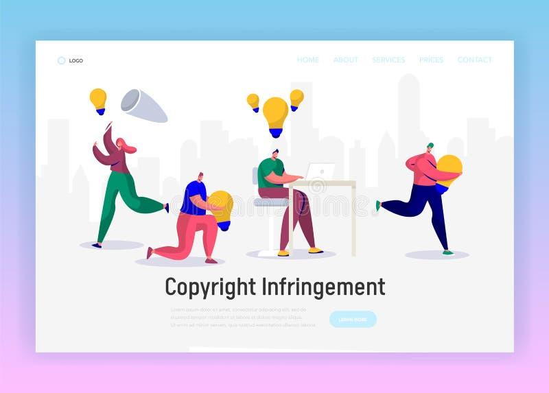Journalista em linha Write Creative Copyright para a página social da aterrissagem do artigo Escritor satisfeito Work Infringemen ilustração royalty free