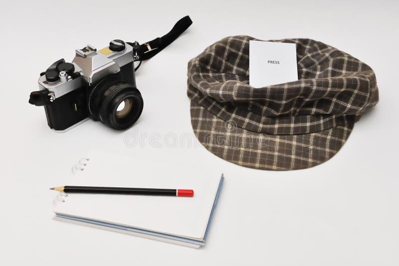 Journalista Equipment do vintage imagem de stock royalty free