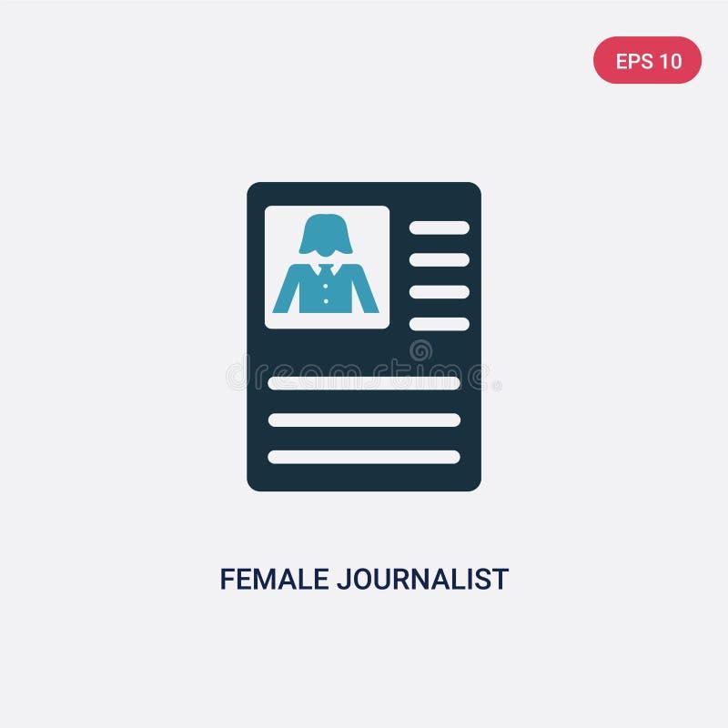 Journalista fêmea de duas cores no ícone do vetor da tabuleta do conceito dos povos journalista fêmea azul isolado no sinal do ve ilustração do vetor