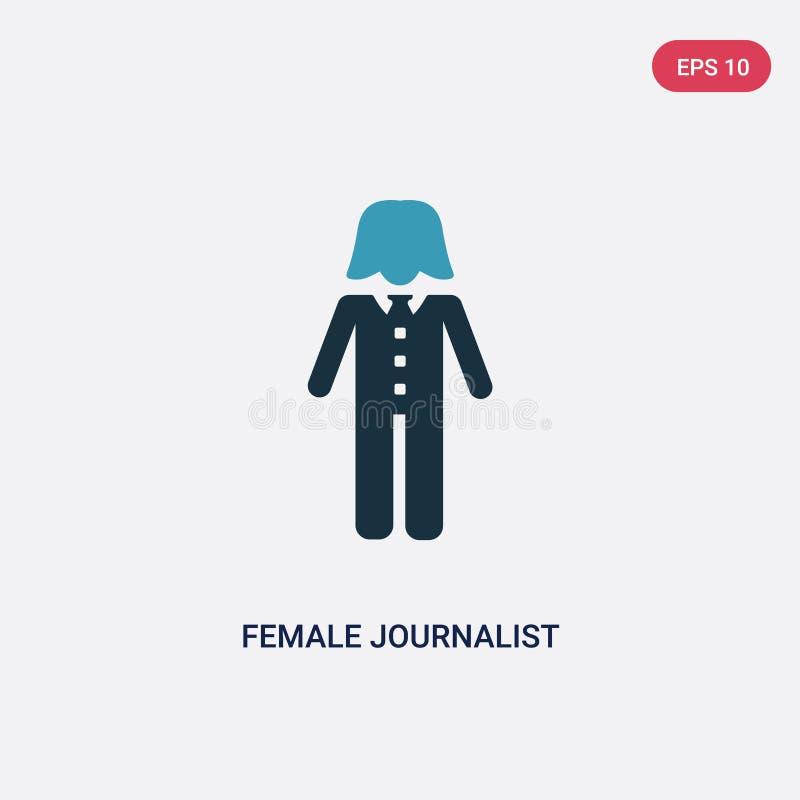 Journalista fêmea de duas cores que fala sobre o ícone do vetor da notícia da ciência do conceito dos povos fala fêmea azul isola ilustração do vetor