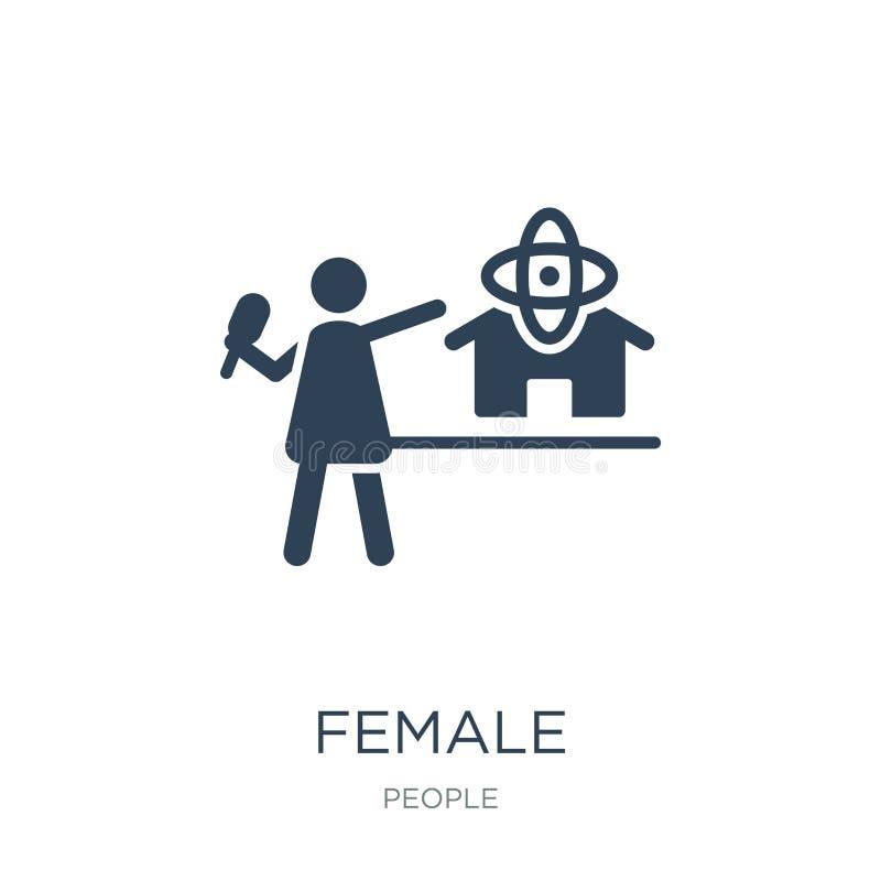 journalista fêmea que fala sobre o ícone da notícia da ciência no estilo na moda do projeto journalista fêmea que fala sobre o íc ilustração stock
