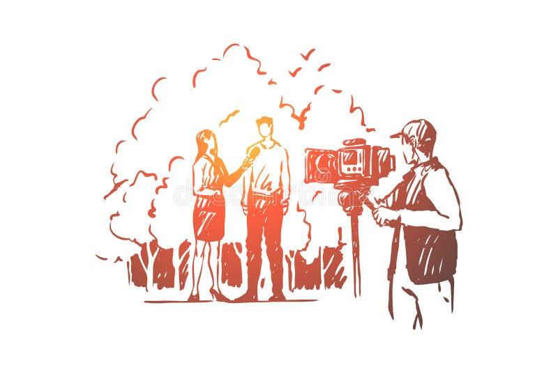 Journalista f?mea que transmite o entrevistador vivo, f?mea que fala ao homem, grupo de pel?cula ilustração stock