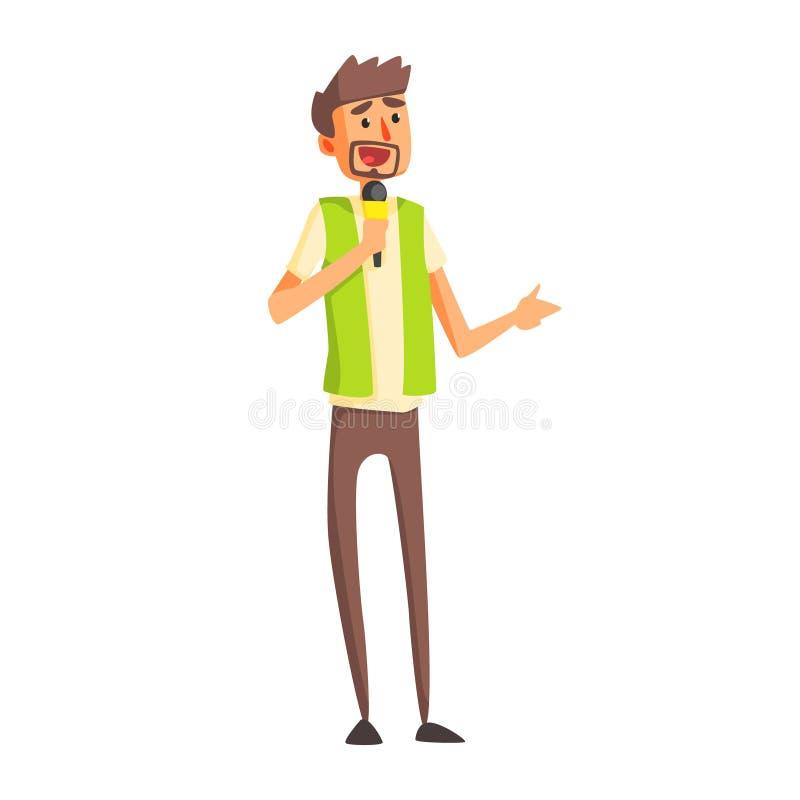 Journalista In Green Vest que faz a pergunta na conferência de imprensa, repórter oficial Working da imprensa, recolhendo a infor ilustração royalty free