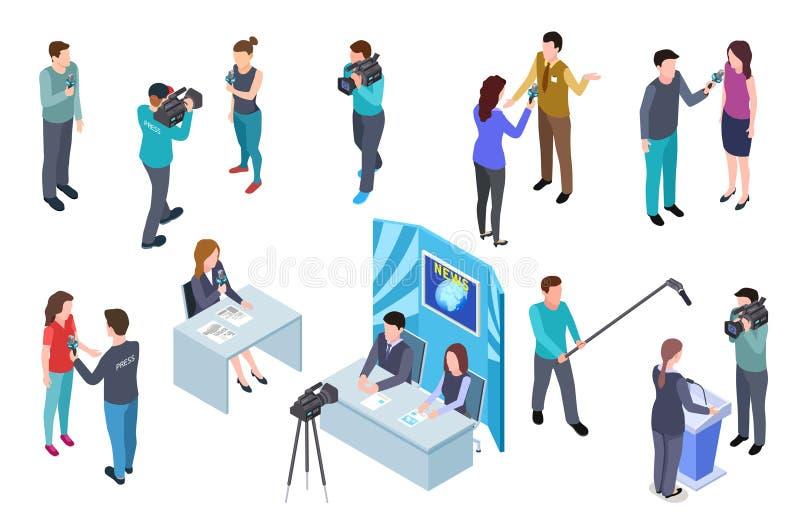 Journalista isométrico Mass media dos journalistas do noticiário da imprensa do estúdio do grupo de tevê do homem da câmera  ilustração royalty free