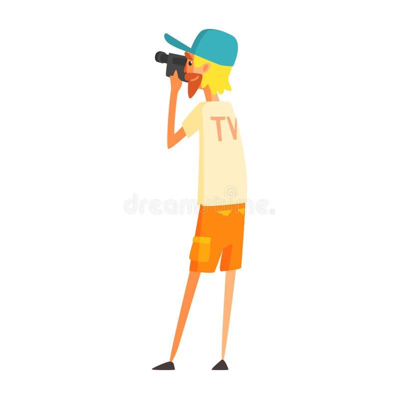 Journalista Shooting Video de Videographer, repórter oficial Working da imprensa, recolhendo a informação e fazendo a notícia, pa ilustração stock