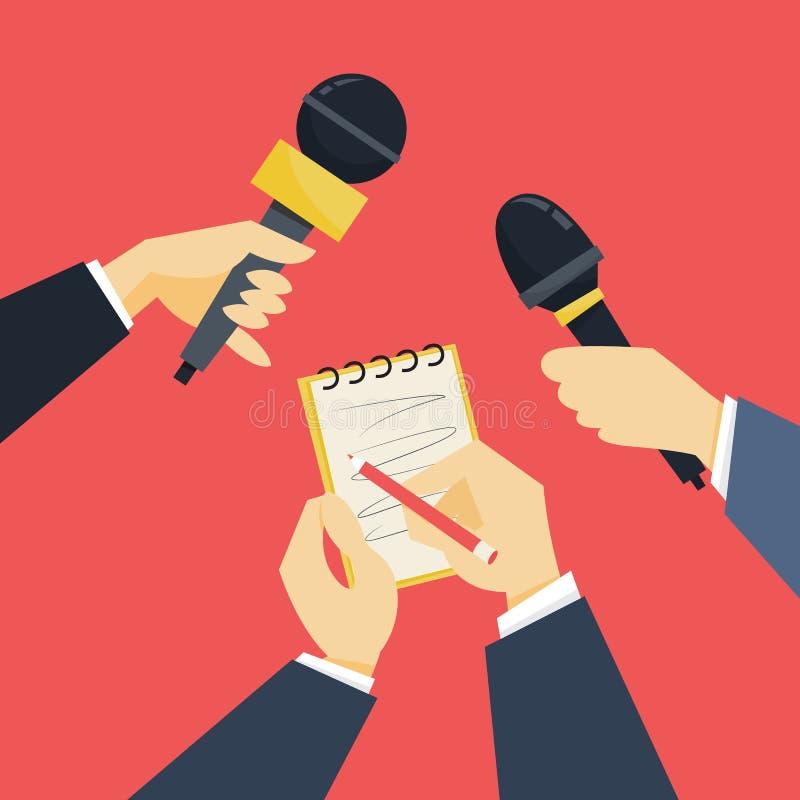 Journalistconcept De holdingsmicrofoon van de hand De verslaggever neemt gesprek royalty-vrije illustratie
