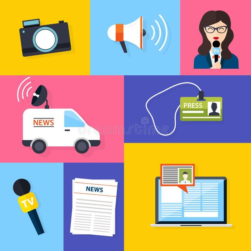 Journaliste d'actualités de presse de journalisme Ensemble d'icônes de journalisme de vecteur illustration libre de droits