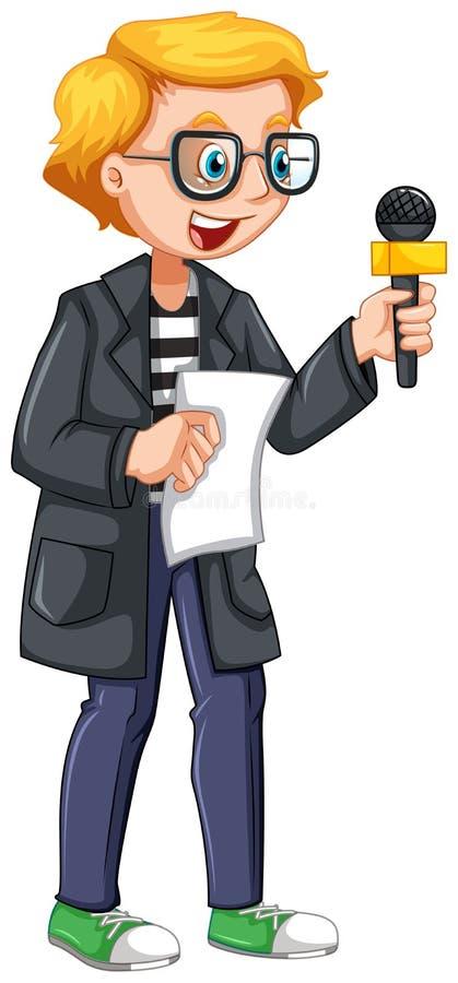 Journaliste d'actualités tenant le manuscrit et le microphone illustration libre de droits