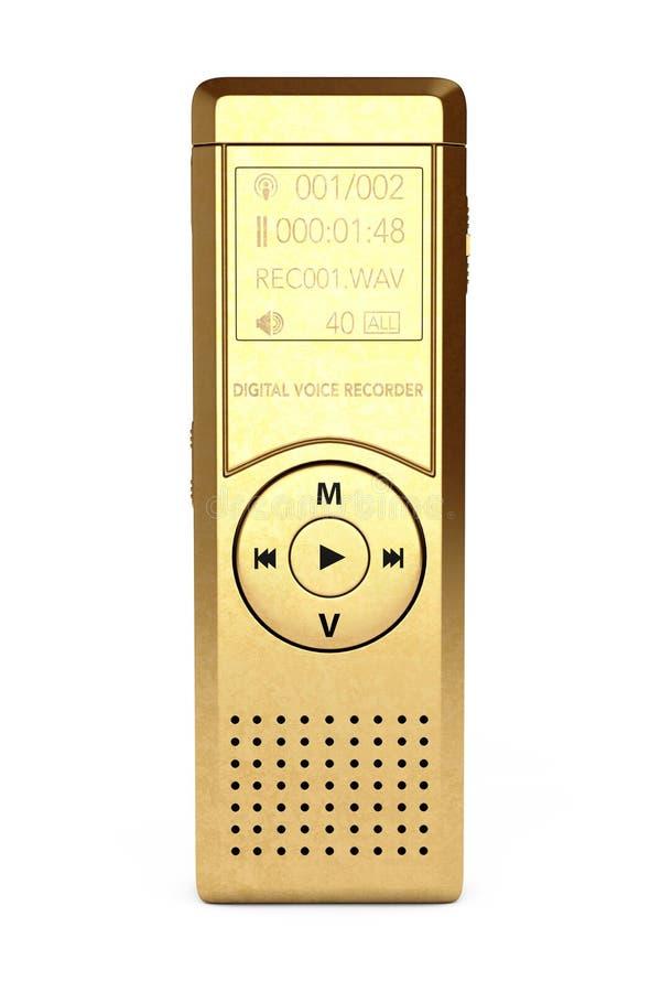 Journaliste d'or Digital Voice Recorder ou dictaphone rende 3D illustration de vecteur