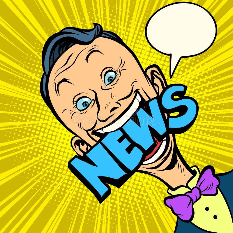Journaliste d'homme d'art de bruit d'actualités illustration de vecteur