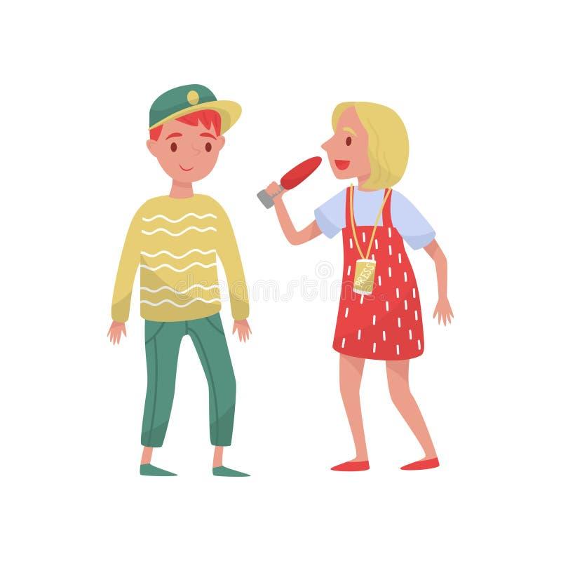 Journaliste de femme faisant l'entrevue avec le jeune type Journaliste parlant dans le microphone Thème de télévision Vecteur pla illustration de vecteur