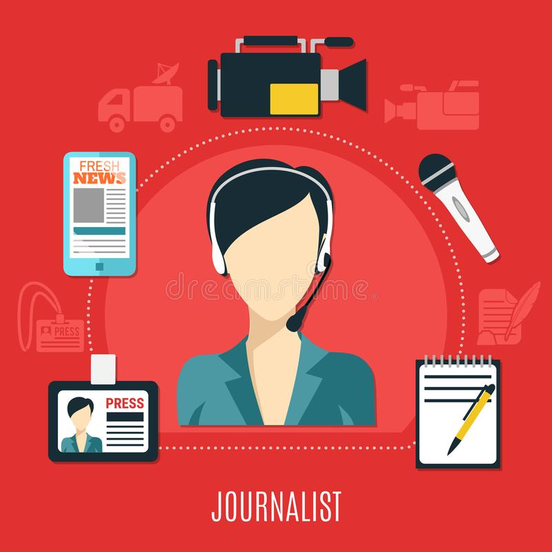 Journaliste Design Concept illustration stock