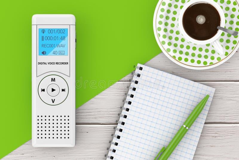 Journaliste Digital Voice Recorder ou dictaphone, bloc-notes vide illustration stock
