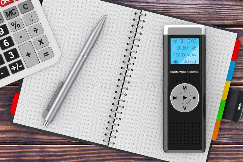 Journaliste Digital Voice Recorder ou dictaphone, calculatrice, Bla illustration de vecteur