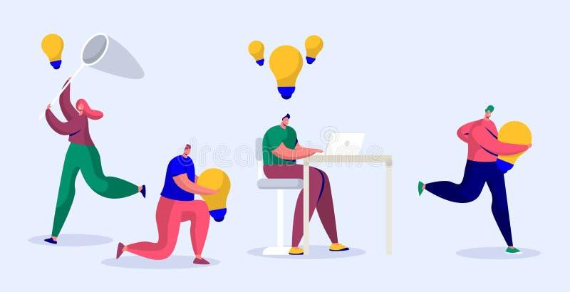 Journaliste en ligne Write Creative Copyright pour l'article social Auteur satisfait Work Infringement Caractère indépendant illustration stock