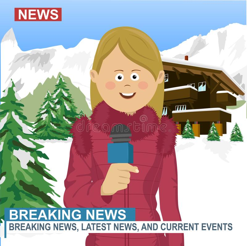 Journaliste féminin caucasien professionnel avec le microphone présentant les actualités dans la station de sports d'hiver pendan illustration stock