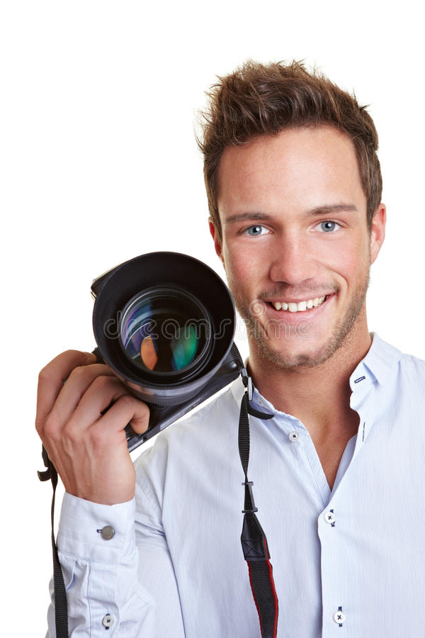 Journaliste heureux avec digital photos stock