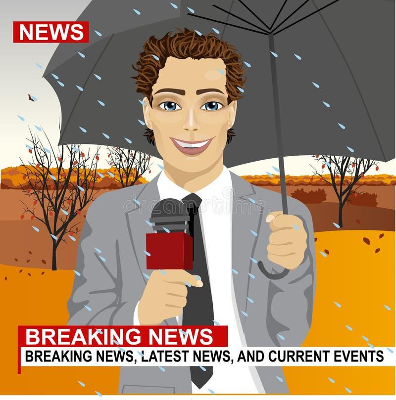 Journaliste masculin travaillant par temps pluvieux dehors en parc tenant le microphone et le parapluie dans la radiodiffusion vi illustration de vecteur