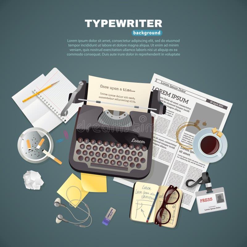 Journaliste Typewriter Background illustration stock