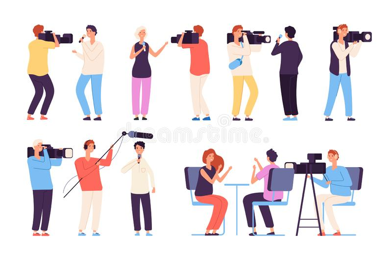 journalistes Journalistes de nouvelles de radiodiffuseur annonçant la bande dessinée de vecteur d'isolement par entrevue de studi illustration libre de droits