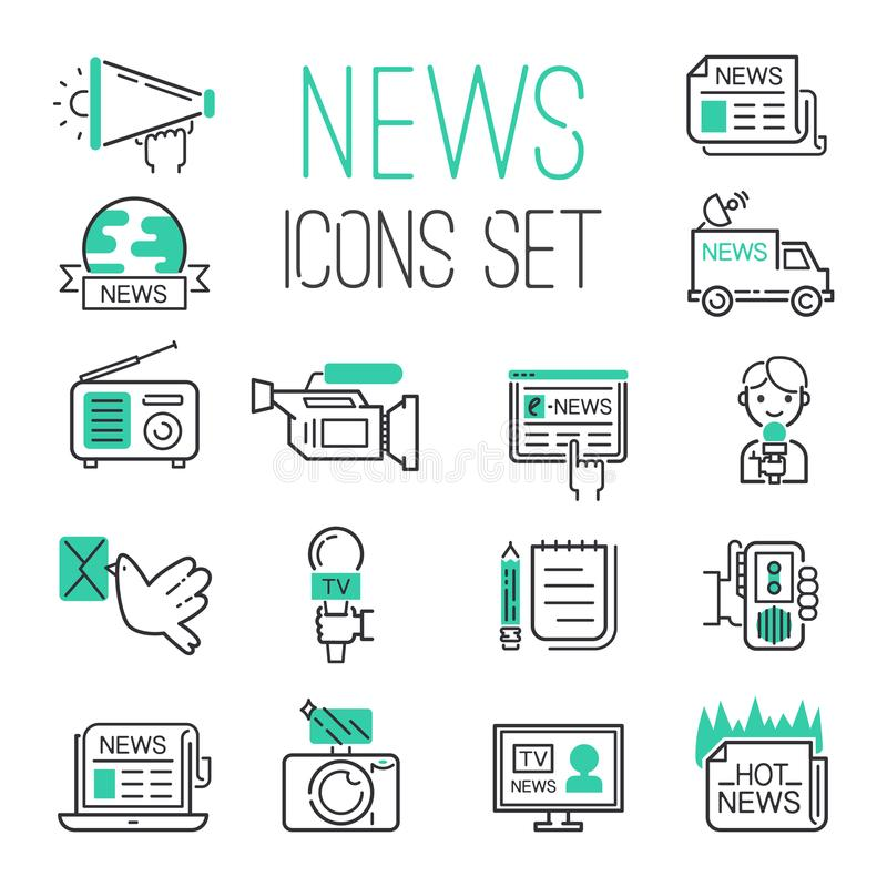 Journalistiekmedia de hete van het het nieuwsoverzicht van TV zwarte mededeling royalty-vrije illustratie