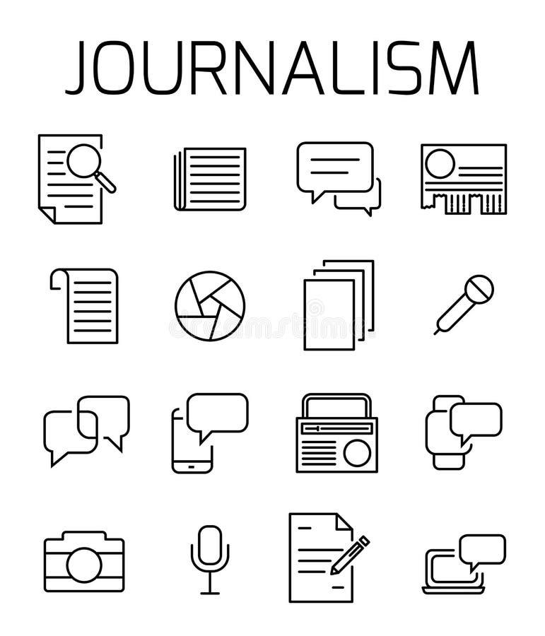 Journalistik släkt vektorsymbolsuppsättning stock illustrationer