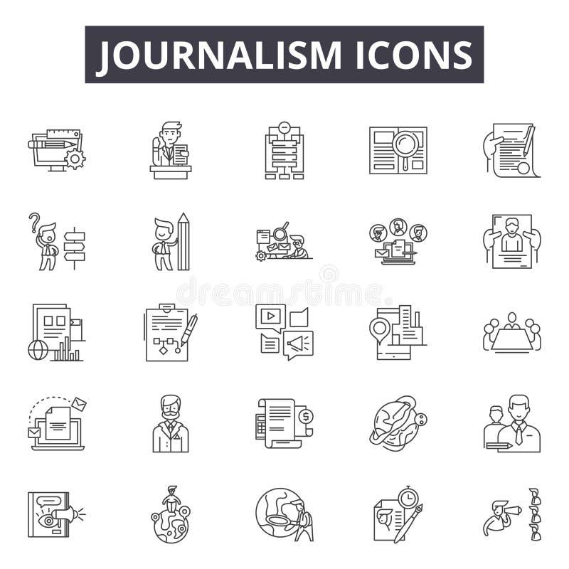 Journalistiklinje symboler, tecken, vektoruppsättning, linjärt begrepp, översiktsillustration stock illustrationer