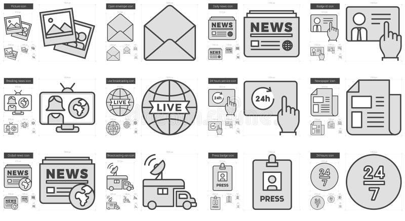 Journalistiklinje symbolsuppsättning royaltyfri illustrationer