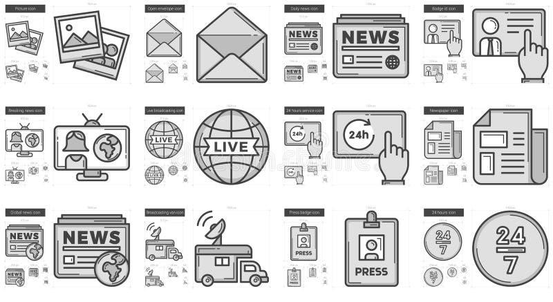 Journalistiklinje symbolsuppsättning vektor illustrationer