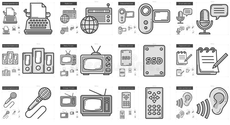 Journalistiklinje symbolsuppsättning stock illustrationer