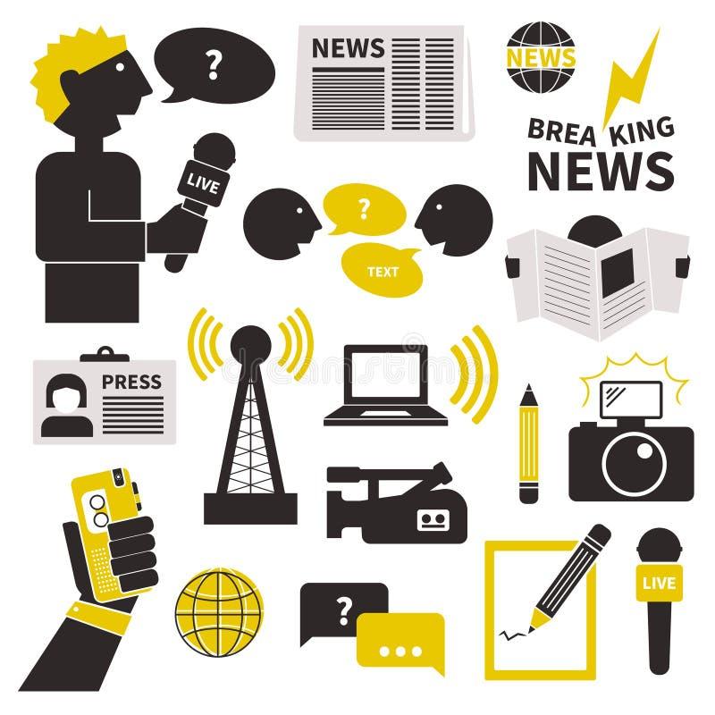 Journalistiksymbolsuppsättning vektor illustrationer